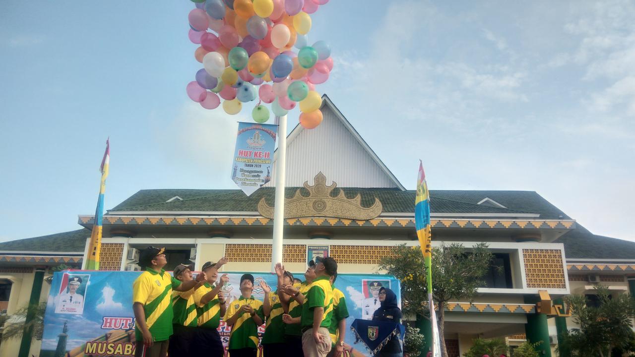 Apel Senam dan Launching Logo HUT Pringsewu Ke-11 Tahun 2020